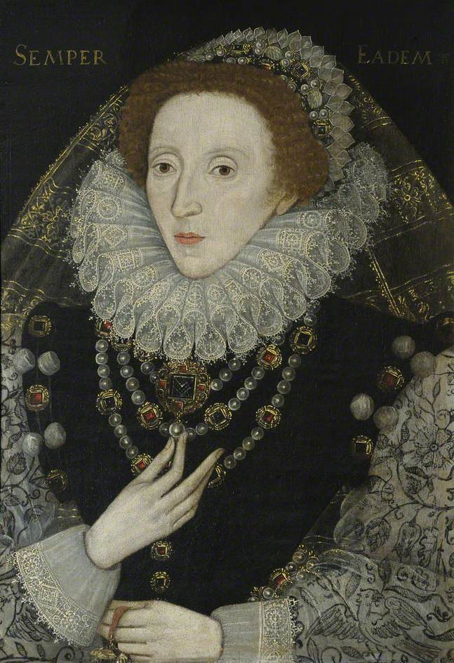 British (English) School; Elizabeth I (1533-1603); Queens' College, University of Cambridge; http://www.artuk.org/artworks/elizabeth-i-15331603-194553