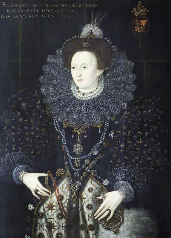 British (English) School; Elizabeth I (1533-1603), with a Miniature Sieve; National Trust, Charlecote Park; http://www.artuk.org/artworks/elizabeth-i-15331603-with-a-miniature-sieve-130221