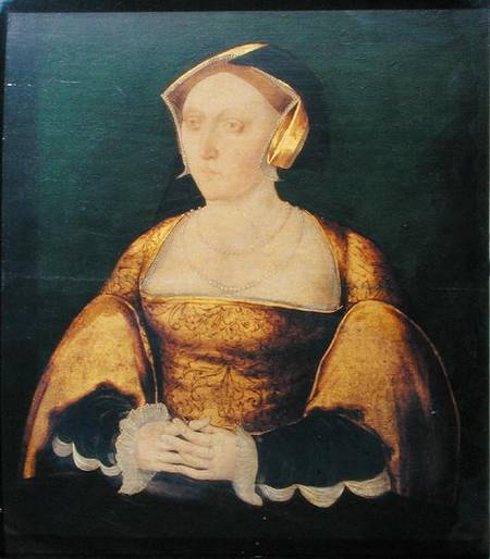 SOA235443 Jane Seymour (1508/9-1537) c.1536 (oil on panel) by English School, (16th century) oil on panel 41.5x36 Society of Antiquaries, London, UK English, out of copyright