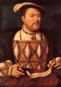 Henry VIII, c1535, attributed to Joos van Cleve - painted during his brief marriage to his second wife, Anne Boleyn. The king is physically more attractive than in the later Holbein portraits. Henry holds a scroll inscribed 'Go ye into all the world, and preach the Gospel to every creature' (Mark 16.15).