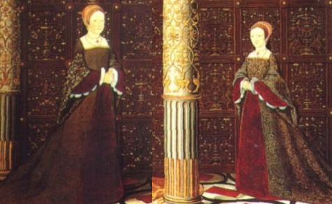"Lady Mary and Lady Elizabeth from the ""Succession Portrait"" which was commissioned while Katherine Parr was queen."