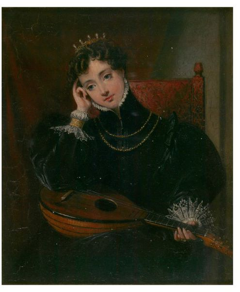 Painted by Charles Robert ca 1833 - Oil on mahogany panel depicting Amy Robsart, a 16th century Countess of Leicester. Copyright: © Victoria and Albert Museum, London 2016