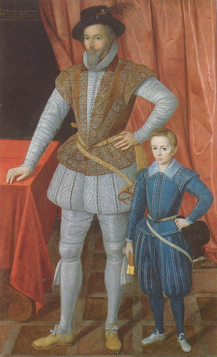 Sir Walter Raleigh with son Walter - 1602