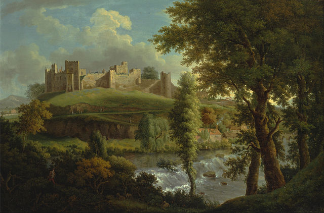 Ludlow Castle with Dinham Weir, from the South-West Samuel Scott1765 to 1769