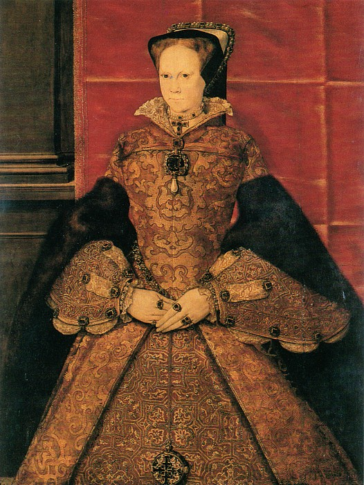 "Portrait of Mary I of England, signed ""HF 1554"" (originally ""HE""), Society of Antiquaries of London LDSAL 336, oil on oak panel, 1040 x 785mm (41 x 31 inches)"
