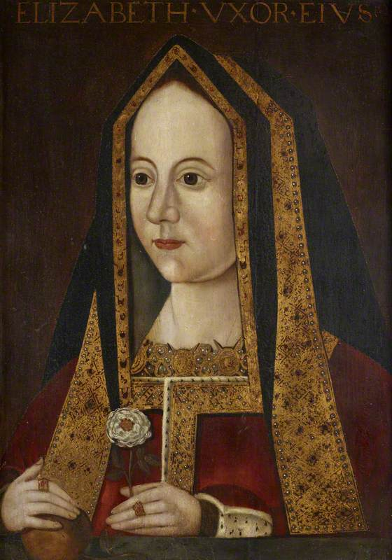 British (English) School; Elizabeth of York (1466-1503), Queen Consort of Henry VII; National Trust, Anglesey Abbey; http://www.artuk.org/artworks/elizabeth-of-york-14661503-queen-consort-of-henry-vii-169934