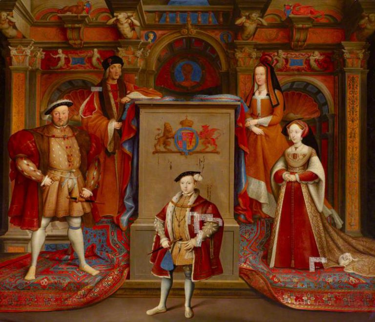 van Leemput, Remi; Henry VII (1457-1509), Queen Elizabeth (of York) (1466-1503), Henry VIII (1491-1547), Queen Jane Seymour (1509-1537), and Edward VI (1537-1553), as Prince of Wales; National Trust, Petworth House; http://www.artuk.org/artworks/henry-vii-14571509-queen-elizabeth-of-york-14661503-henry-viii-14911547-queen-jane-seymour-15091537-and-edward-vi-15371553-as-prince-of-wales-219567