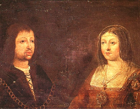 Wedding portrait of King Ferdinand II of Aragón and Queen Isabel of Castile.