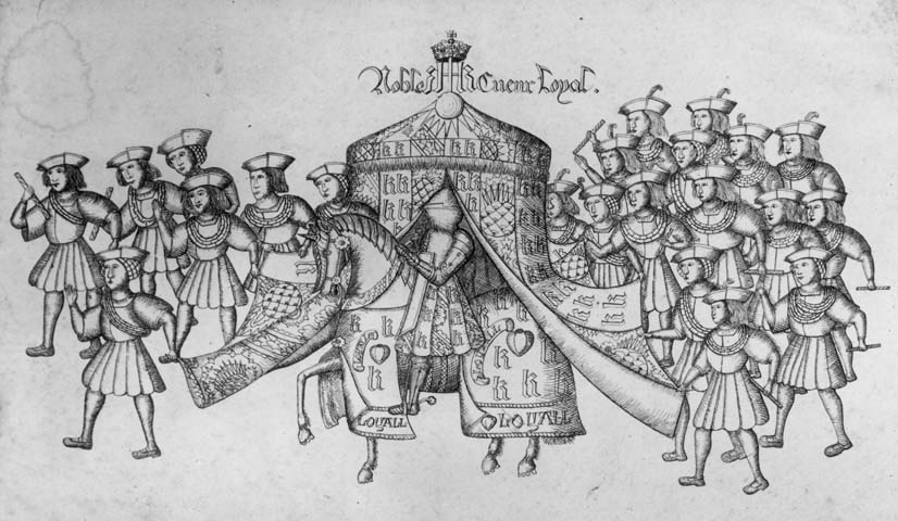 1511, King Henry VIII in a procession on his way to a tournament clad in armour and riding a horse. He is accompanied by courtiers who are holding the flaps of a tent so that the king can be seen. (Photo by Hulton Archive/Getty Images)