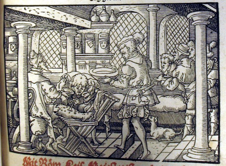 "A man having mercury ointment applied to his legs. This was done with a spatula to avoid the doctor coming into contact with the sores and the mercury. From Paracelus' ""Erster Theil [-der dritte] der grossen Wundartzney die Frantzosen genannt"". Sp Coll Ferguson Ap-d.51 (Frankfurt, 1562)."