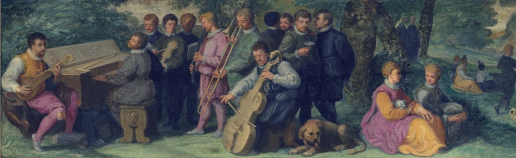 16th century—Venice, Italy: An oil painting from the Venetian School depicts a pastoral concert that includes trombone, cornett, cittern, clavichord, violin, and viol (see detail and full image below; public domain). Special thanks to David Van Edwards