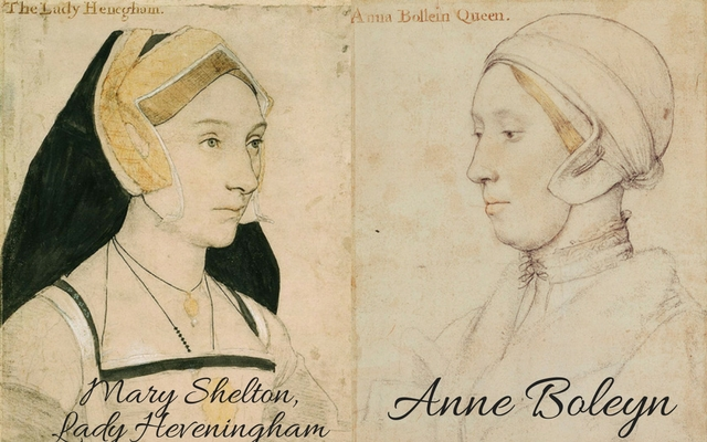 Mary Shelton, cousin to Anne Boleyn, c. 1532 – c. 1543 and sitter believed to be Anne Boleyn, c. 1533-1536